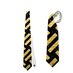 Woven2 Black Marble & Gold Brushed Metal Necktie (one Side)