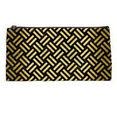 Woven2 Black Marble & Gold Brushed Metal Pencil Case