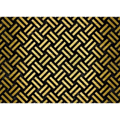 Woven2 Black Marble & Gold Brushed Metal Birthday Cake 3d Greeting Card (7x5)