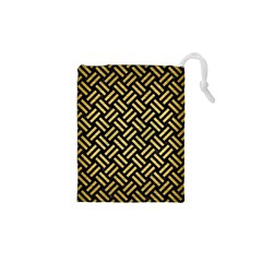 Woven2 Black Marble & Gold Brushed Metal Drawstring Pouch (xs)