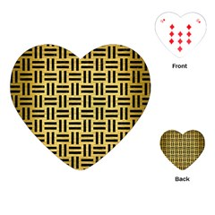 Woven1 Black Marble & Gold Brushed Metal (r) Playing Cards (heart)