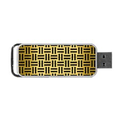 Woven1 Black Marble & Gold Brushed Metal (r) Portable Usb Flash (one Side)
