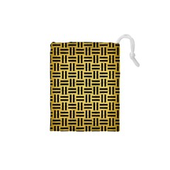 Woven1 Black Marble & Gold Brushed Metal (r) Drawstring Pouch (xs)