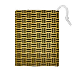 WOV1 BK MARBLE GOLD (R) Drawstring Pouches (Extra Large)