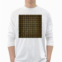 Woven1 Black Marble & Gold Brushed Metal Long Sleeve T Shirt
