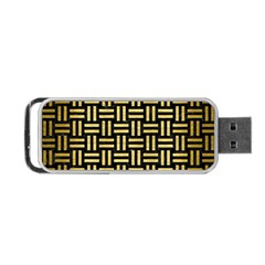 Woven1 Black Marble & Gold Brushed Metal Portable Usb Flash (one Side)