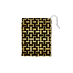 Woven1 Black Marble & Gold Brushed Metal Drawstring Pouch (xs)