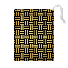 WOV1 BK MARBLE GOLD Drawstring Pouches (Extra Large)