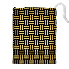 Woven1 Black Marble & Gold Brushed Metal Drawstring Pouch (xxl)