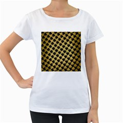 Houndstooth2 Black Marble & Gold Brushed Metal Women s Loose Fit T Shirt (white)