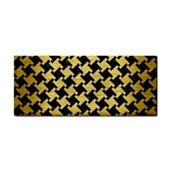 Houndstooth2 Black Marble & Gold Brushed Metal Hand Towel