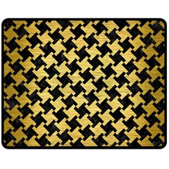 Houndstooth2 Black Marble & Gold Brushed Metal Fleece Blanket (medium)