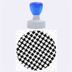 Houndstooth2 Black Marble & Gold Brushed Metal Rubber Stamp Round (large)
