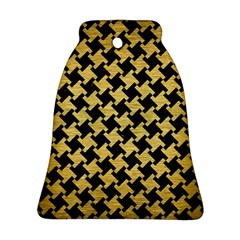 Houndstooth2 Black Marble & Gold Brushed Metal Bell Ornament (two Sides)
