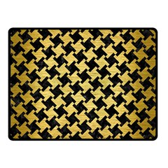 Houndstooth2 Black Marble & Gold Brushed Metal Double Sided Fleece Blanket (small)