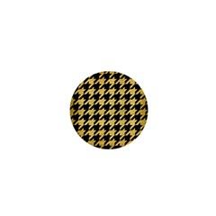 Houndstooth1 Black Marble & Gold Brushed Metal 1  Mini Button