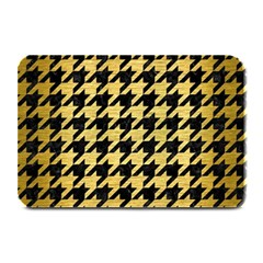 Houndstooth1 Black Marble & Gold Brushed Metal Plate Mat