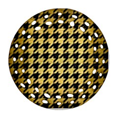 Houndstooth1 Black Marble & Gold Brushed Metal Round Filigree Ornament (two Sides)