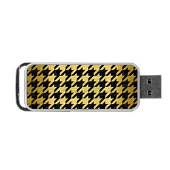 Houndstooth1 Black Marble & Gold Brushed Metal Portable Usb Flash (two Sides)