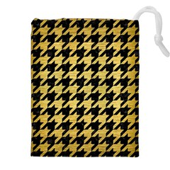 Houndstooth1 Black Marble & Gold Brushed Metal Drawstring Pouch (xxl)
