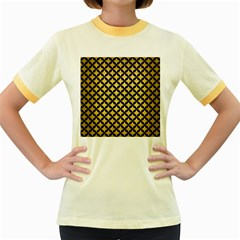 Circles3 Black Marble & Gold Brushed Metal (r) Women s Fitted Ringer T Shirt