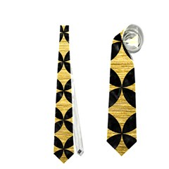 Circles3 Black Marble & Gold Brushed Metal (r) Necktie (one Side)