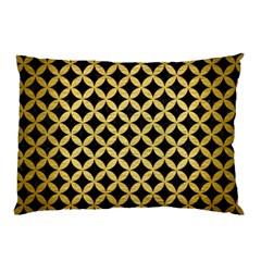 Circles3 Black Marble & Gold Brushed Metal Pillow Case