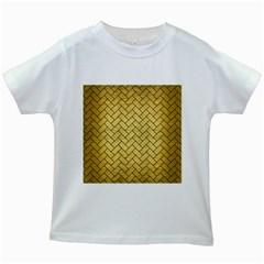 Brick2 Black Marble & Gold Brushed Metal (r) Kids White T Shirt