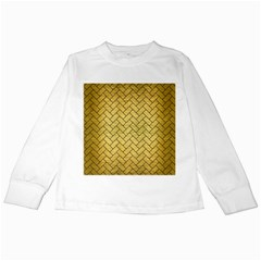 Brick2 Black Marble & Gold Brushed Metal (r) Kids Long Sleeve T Shirt