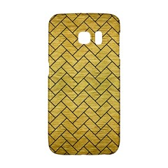 Brick2 Black Marble & Gold Brushed Metal (r) Samsung Galaxy S6 Edge Hardshell Case