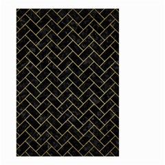 Brick2 Black Marble & Gold Brushed Metal Small Garden Flag (two Sides)