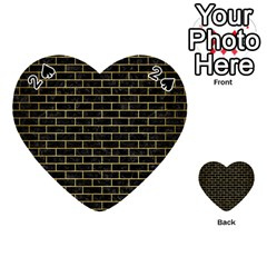 Brick1 Black Marble & Gold Brushed Metal Playing Cards 54 (heart)