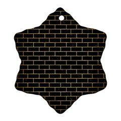 Brick1 Black Marble & Gold Brushed Metal Snowflake Ornament (two Sides)