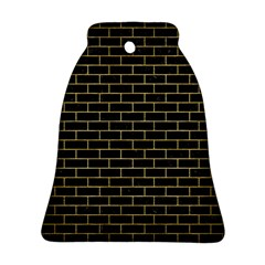 Brick1 Black Marble & Gold Brushed Metal Bell Ornament (two Sides)