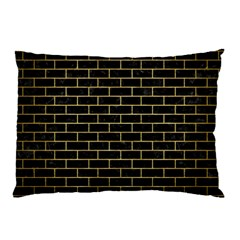 Brick1 Black Marble & Gold Brushed Metal Pillow Case (two Sides)