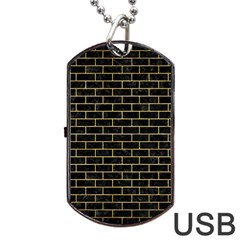 Brick1 Black Marble & Gold Brushed Metal Dog Tag Usb Flash (two Sides)