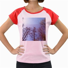 Natural Brown Blue, Large Trees in Sky Women s Cap Sleeve T-Shirt