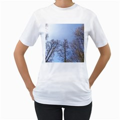 Natural Brown Blue, Large Trees in Sky Women s T-Shirt (White) (Two Sided)