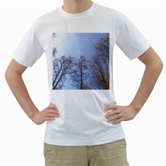 Natural Brown Blue, Large Trees in Sky Men s T-Shirt (White) (Two Sided)