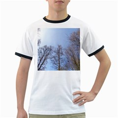 Natural Brown Blue, Large Trees in Sky Ringer T-Shirts