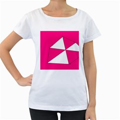 Funny Hot Pink White Geometric Triangles Kids Art Women s Loose-Fit T-Shirt (White)