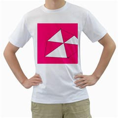 Funny Hot Pink White Geometric Triangles Kids Art Men s T-Shirt (White)