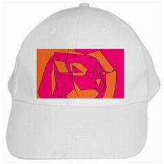 Funny Hot Pink Orange Kids Art White Cap