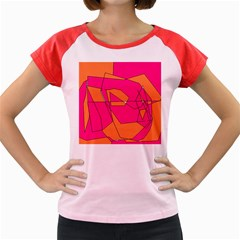 Funny Hot Pink Orange Kids Art Women s Cap Sleeve T-Shirt