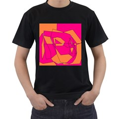 Funny Hot Pink Orange Kids Art Men s T-Shirt (Black)