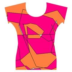 Funny Hot Pink Orange Kids Art Women s Cap Sleeve Top
