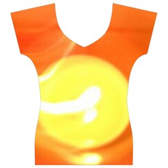 Sunny Orange Yellow Flame Women s V-Neck Cap Sleeve Top