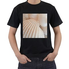 Tropical Romantic Exotic White Sea Shells Men s T-Shirt (Black)