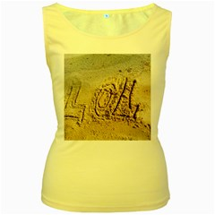LoL, Lots of Love on The Beach Women s Yellow Tank Top
