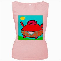 Funny Pig in Summer Red Blue Pink Kids Art Women s Pink Tank Top